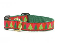 "Dog Collars: 5/8"" or 1"" Wide Holiday, Christmas Festive Trees Clip Collar"