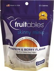 Treats:  Fruitables Chewy Skinny Mini Dog Treats Pumpkin & Berry