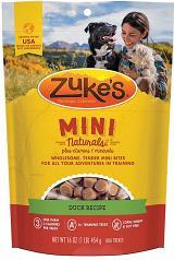 Treats:  Zukes Mini Duck Semi-Moist Training Treat 6 oz bag
