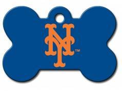 Engraved ID Tag:  Large Baseball Bone Shape NY Mets