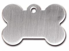Engraved ID Tag:  Large Bone Shape Brushed Chrome