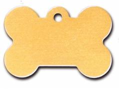 Engraved ID Tag:  Large Gold Matte Bone Shape