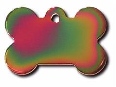 Engraved ID Tag:  Small Bone Shape Rainbow