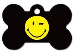 Engraved ID Tag:  Small Bone Shape Winking Smiley