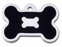 Engraved ID Tag:  Large Bone Shape Chrome with Black Epoxy