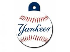 Engraved ID Tag:  Large Baseball NY Yankees