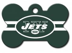 Engraved ID Tag:  Large Jets Green Bone Shape