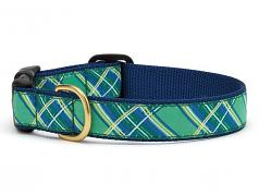 """Dog Collars: 5/8"""" or 1"""" Wide Kelly Plaid"""