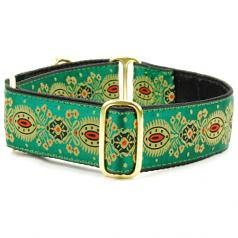 """Dog Collars:  Jade Feather 1.5"""" Wide"""