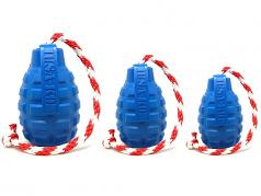 Dog Toy:  USA K9 Grenade Blue Tug & Treat Dispensing Toy with Rope