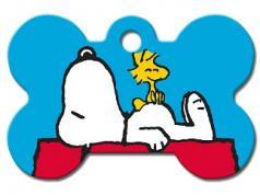 Engraved ID Tag:  Large Bone Shape Snoopy