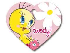 Engraved ID Tag:  Large Heart Shape Tweety