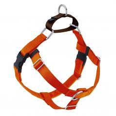 """RUST (Pumpkin Orange) Freedom No-Pull Harness with Brown Back Loop (1"""" Width ONLY)"""