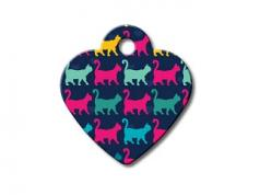 Engraved ID Tag:  Small Heart Shape Mutli Cat