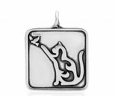 Cat with Bird Pendant- Sterling Silver