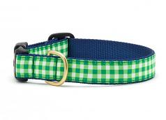 """Dog Collars: 5/8"""" or 1"""" Wide Lime Gingham Clip Collar"""