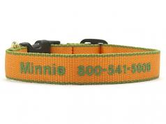 """Dog Collars: 5/8"""" or 1"""" Wide Tangerine and Pine Green Bamboo Embroidered Collar"""