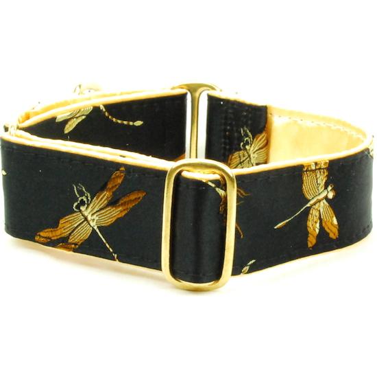 "Dog Collars:  Dragonflies Black & Gold 1.5"" Wide"
