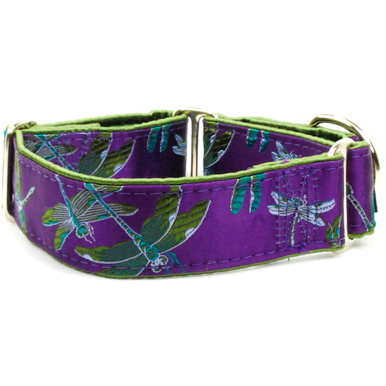 """Dog Collars:  Dragonflies Plum and Moss 1.5"""" Wide"""