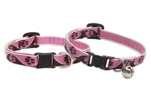 Lupine Cat Collar: Pattern Tickled Pink with or without a bell