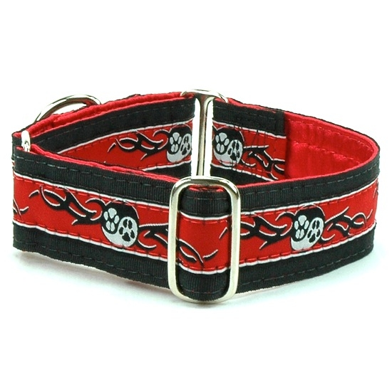 """Dog Collars:  Paw Yang Red 1.5"""" Wide"""