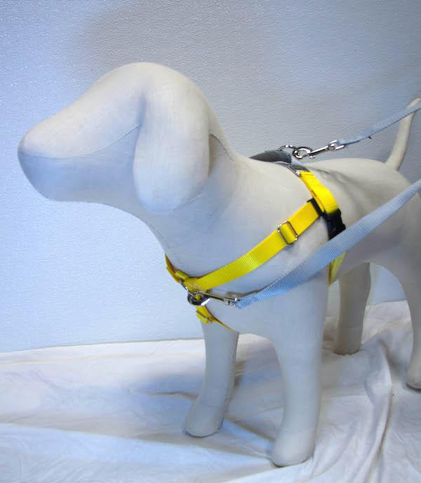 """YELLOW Freedom No-Pull Harness with Silver Back Loop (1"""" Width ONLY)"""