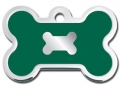 Engraved ID Tag:  Small Bone Shape Chrome with Green Epoxy