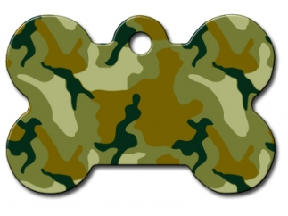 Engraved ID Tag:  Large Bone Shape Camo Bone Shape