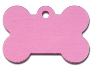 Engraved ID Tag:  Large Pink Bone Shape