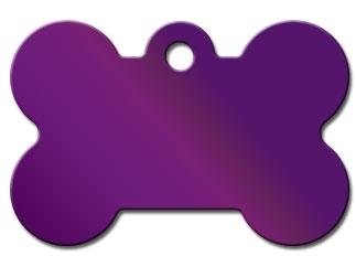 Engraved ID Tag:  Large Purple Bone Shape