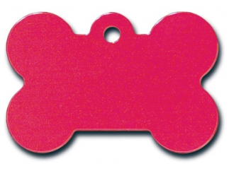 Engraved ID Tag:  Large Bone Shape Red