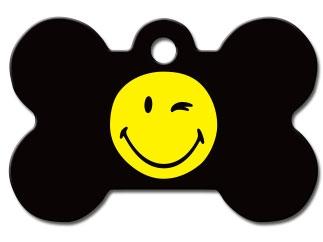 Engraved ID Tag:  Large Bone Shape Winking Smiley