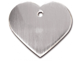 Engraved ID Tag:  Large Brushed Chrome Heart Shape