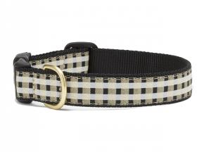 "Dog Collars: 5/8"" or 1"" Wide Black Gilt Check Clip Collar"