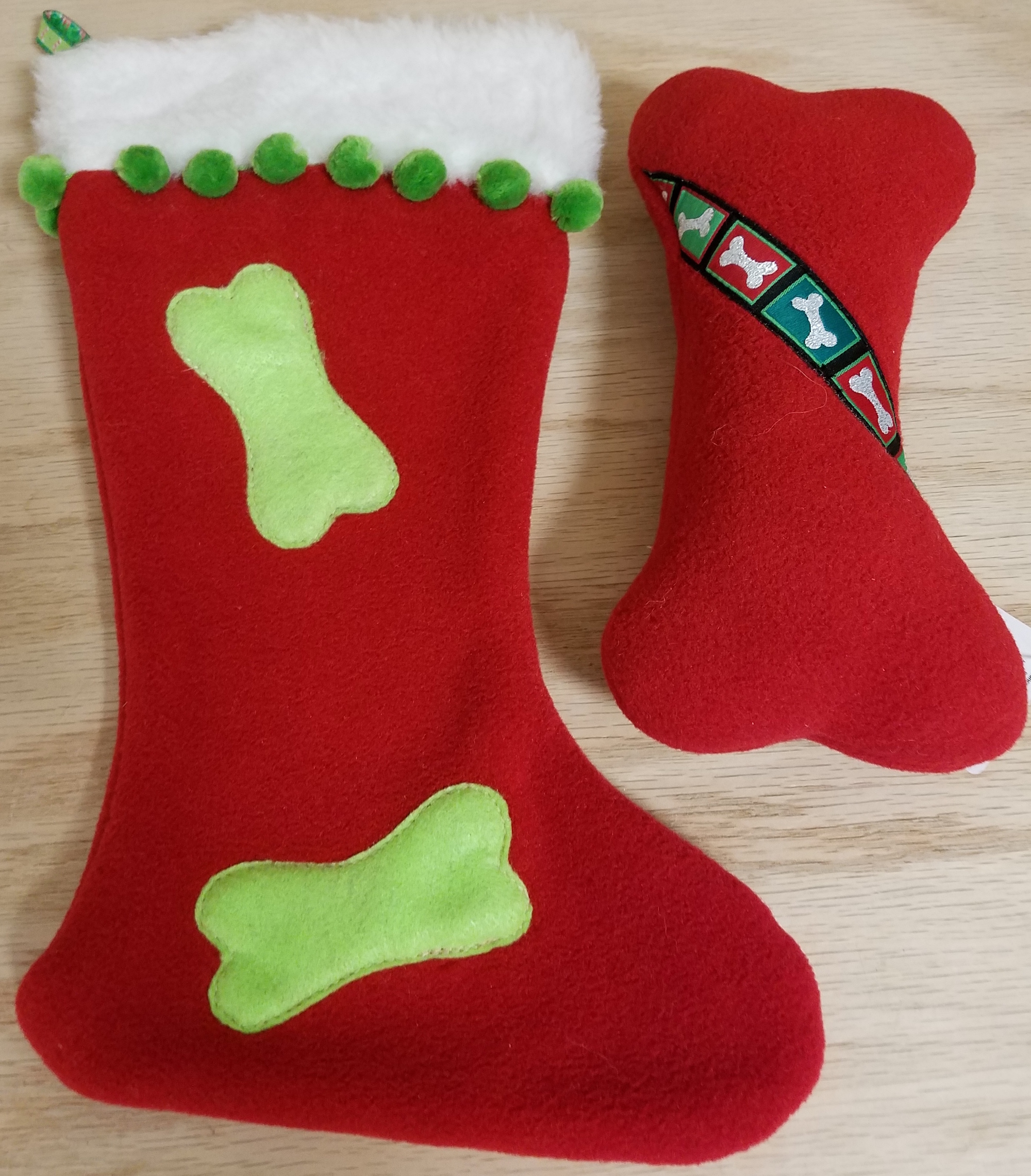 Dog Toy: Christmas Stocking and Squeaker Bone Dog Toy