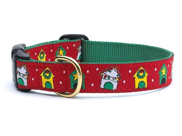"Dog Collars: 5/8"" or 1"" Wide Holiday, Christmas Dog Houses Clip Collar"