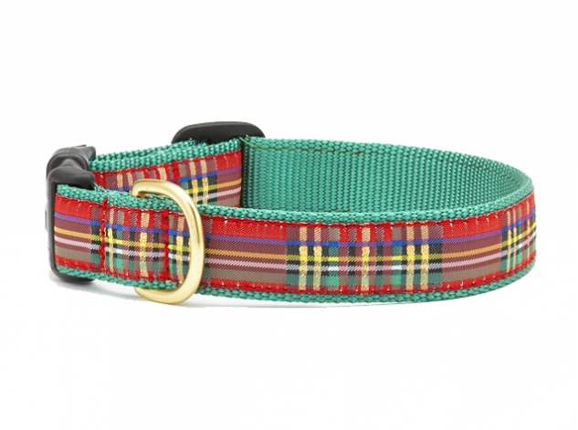 "Dog Collars: 5/8"" or 1"" Wide Holiday, Christmas Sparkle Plaid Clip Collar"