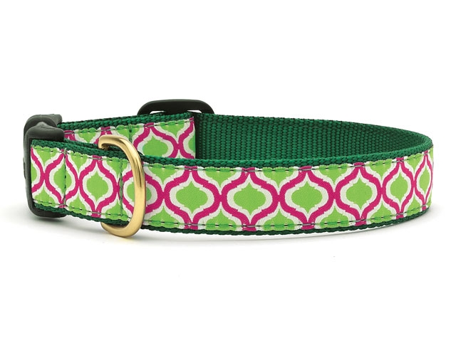 "Dog Collars: 5/8"" or 1"" Wide Green Kismet Clip Collar"