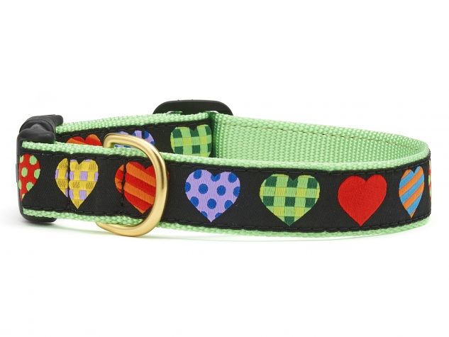 """Dog Collars: 5/8"""" or 1"""" Wide Colorful Hearts Collar"""
