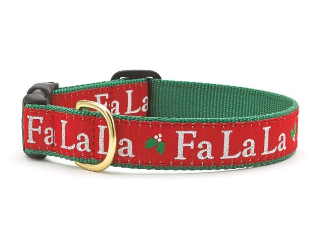 """Dog Collars: 5/8"""" or 1"""" Wide Holiday, Christmas Fa La La Collar"""