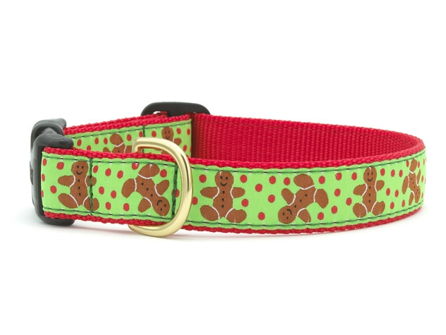 "Dog Collars: 5/8"" or 1"" Wide Holiday, Christmas Gingerbread Collar"
