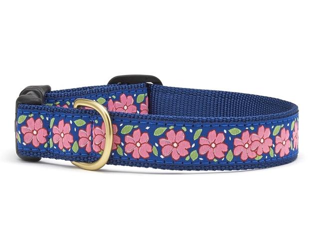 "Dog Collars: 5/8"" or 1"" Wide Pink Garden Collar"