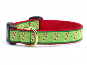 "Dog Collars: 5/8"" or 1"" Wide Holiday, Christmas Candy Canes Clip Collar"
