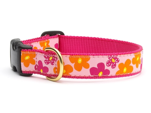 "Dog Collars: 5/8"" or 1"" Wide Flower Power Clip Collar"