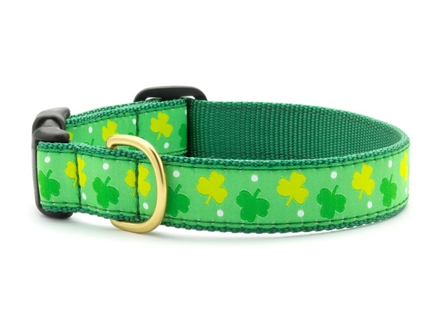 "Dog Collars: 5/8"" or 1"" Wide Shamrocks Clip Collar"