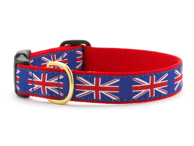 "Dog Collars: 5/8"" or 1"" Wide Union Jack Clip Collar"