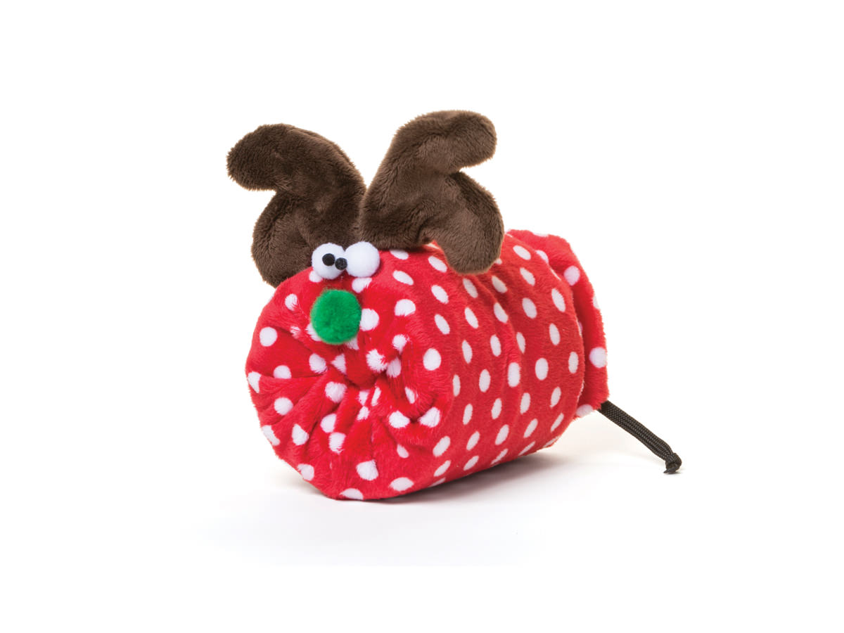 Dog Toy:  Rudy the Reindeer Available in 2 Sizes in Red Dot or Brown