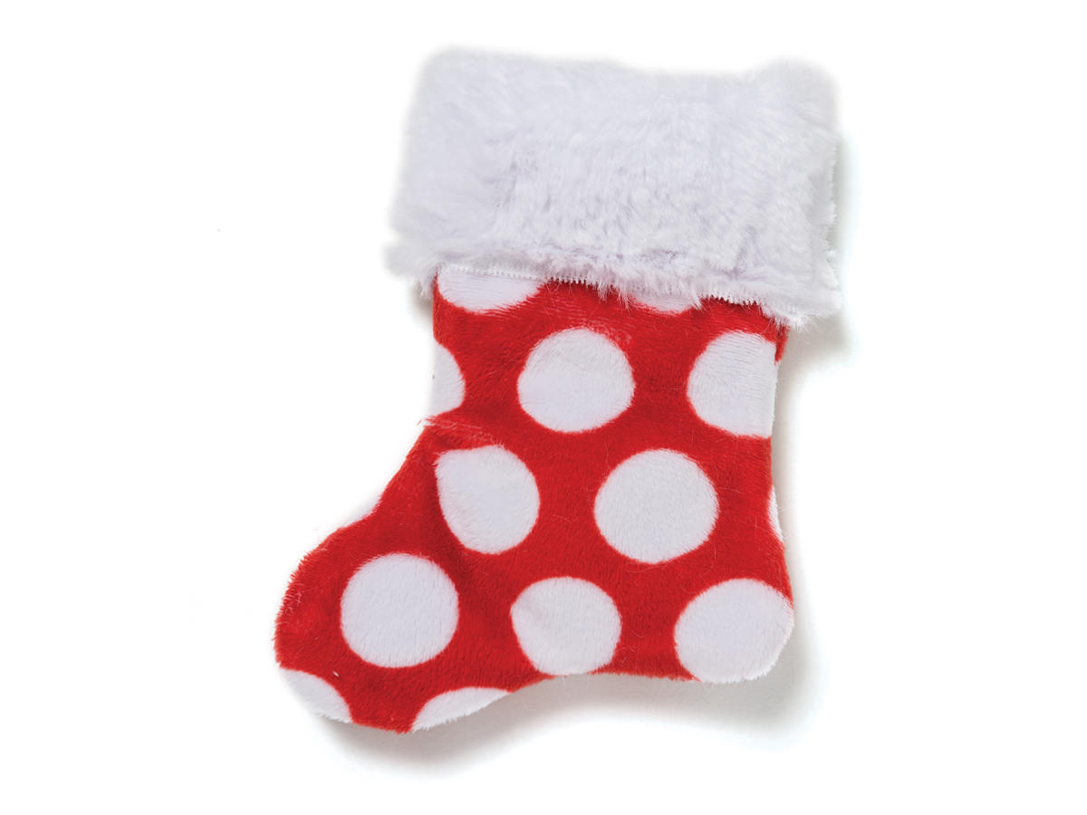 Dog Toy: Stocking Solid Red Holiday Squeaker Dog Toy for Small Dogs