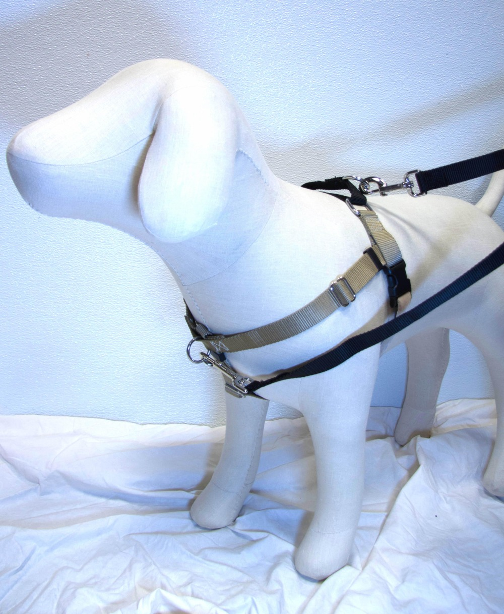 "TAN Freedom No-Pull Harness with Black Back Loop (1"" Width ONLY)"