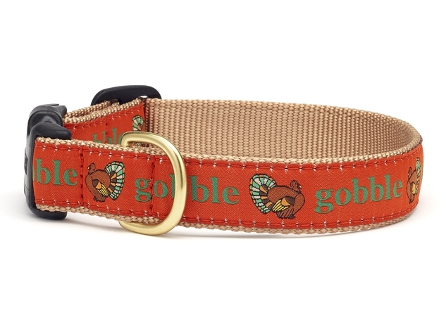 "Dog Collars: 5/8"" or 1"" Wide Holiday, Thanksgiving Gobble Gobble Clip Collar"